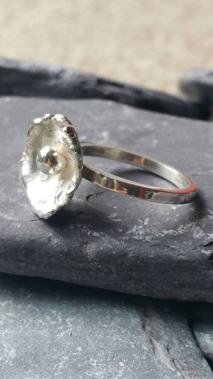 Organic Statement Ring sterling Silver Narrow Band Ring Clam Shaped Ring Silver Bead Ring by CMFDesignsJewellery on Etsy