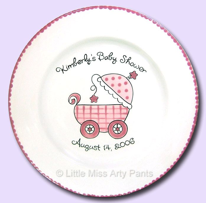 Birth Announcement Plates & Baptism Plates - Little Miss Arty Pants