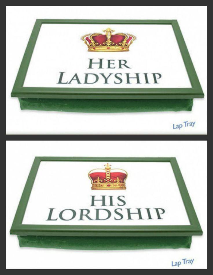 His Lordship Her Ladyship Lap Tray Laptray Padded Bean