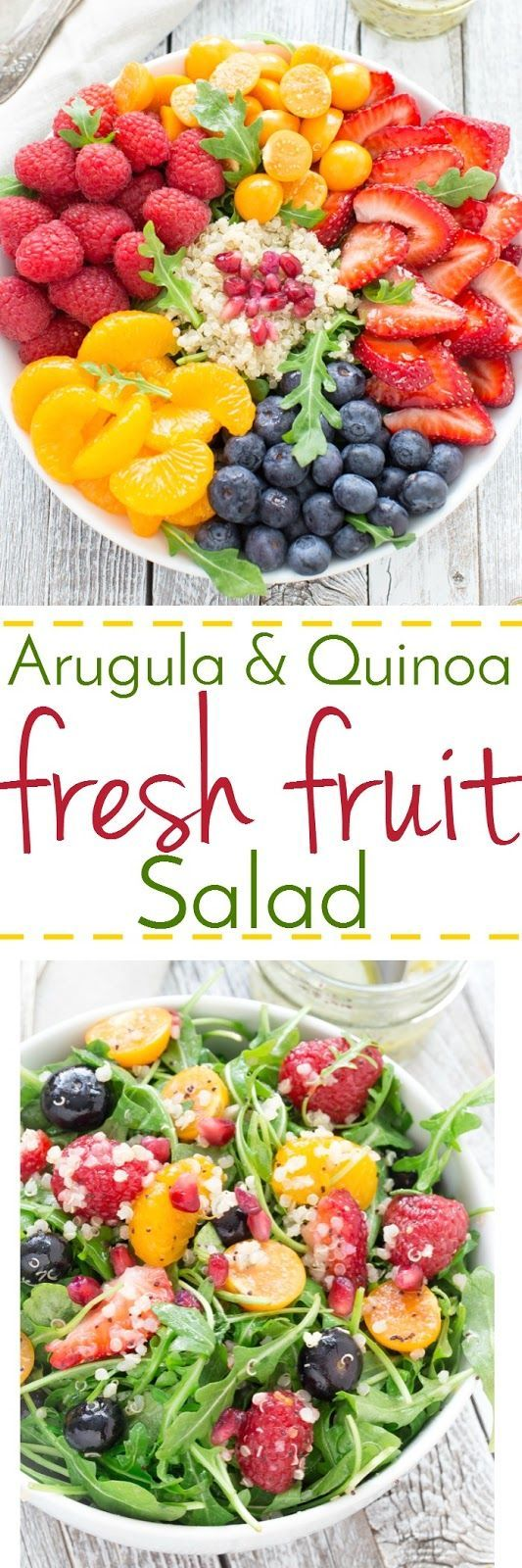 Fresh is the name of the game with this lighter, healthy and flavorful salad loaded with fresh berries, arugula, quinoa and drizzled with a orange poppy seed vinaigrette!
