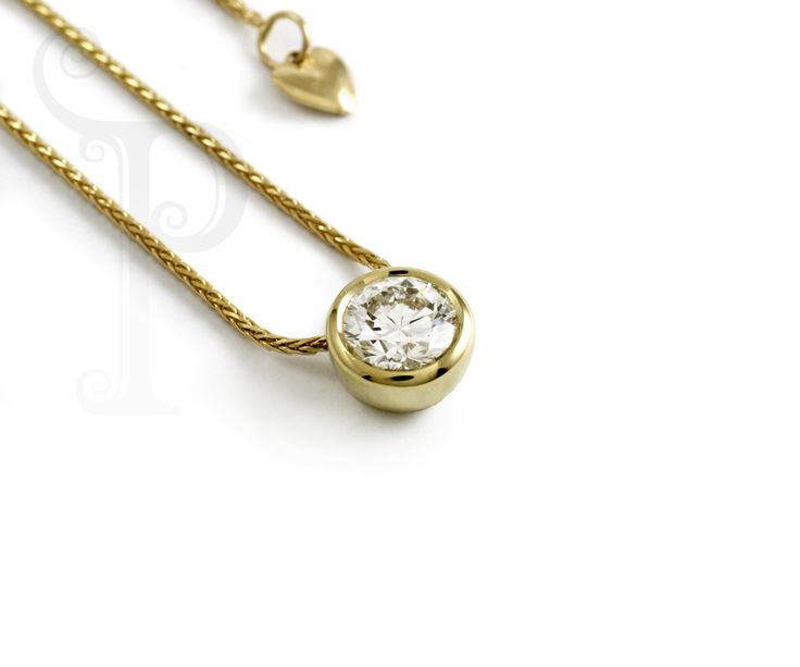 Handmade 18ct Yellow Gold Bezel Slider Pendant, Set With a Round Brilliant Cut Diamond on a wheat link chain