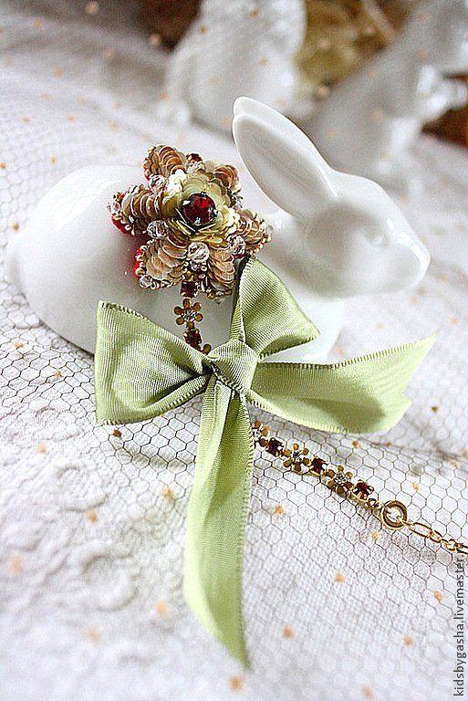 Irena Gasha детская коллекция - Яркий браслетик с цветком и большим бантом