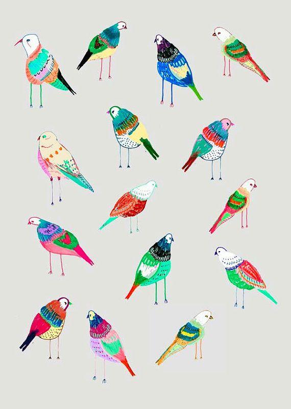 Birdies. illustration art print by Ashley by AshleyPercival  www.aspenyogamats.com