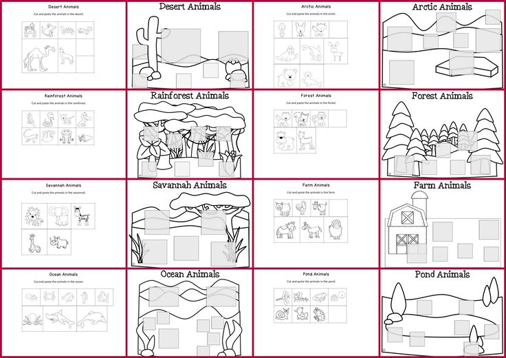 Animals By Habitat Cut And Paste Worksheets Part Of The