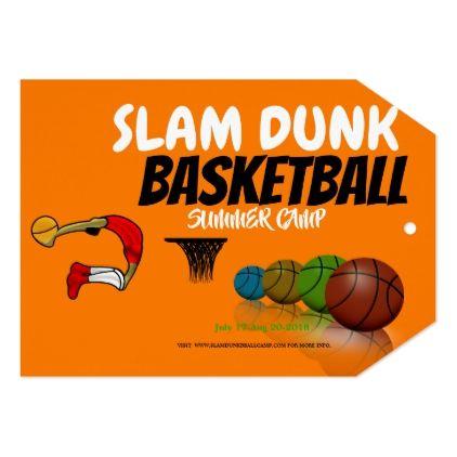 Basketball Summer Camp Invitation / Flat Card - invitations custom unique diy personalize occasions
