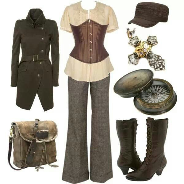 This is actually not far off of my steampunk style. The jacket is slightly off and I don't know that I'd do an under bust corset.