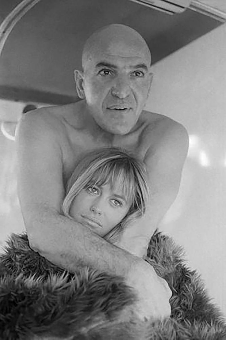 Susan George and Telly Savalas | From a unique collection of black and white photography at https://www.1stdibs.com/art/photography/black-white-photography/