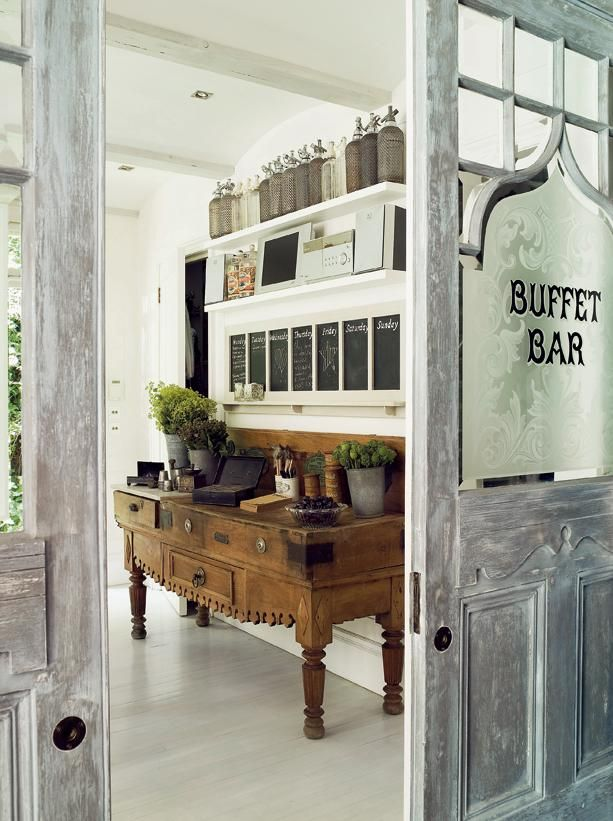 the doors, chalkboards, shelves...everything: Kitchens Desks, Buffet Tables, The Doors, Vintage Home, Idea, Kitchens Dining Rooms, Old Doors, Paintings Floors, Pockets Doors
