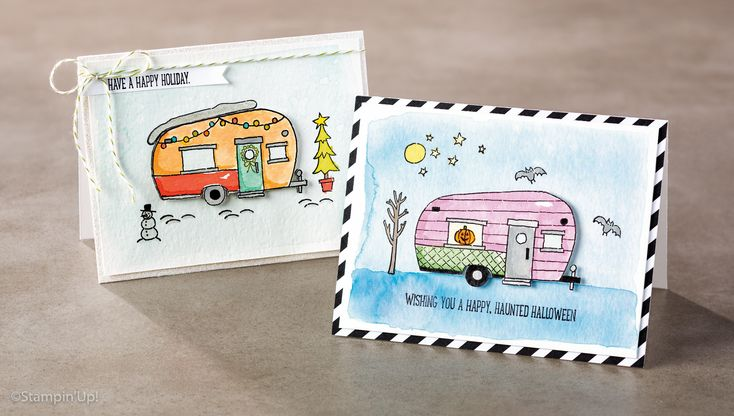 Glamper Greetings stamp set creates cute camper cards for any holiday or season - Christmas, Halloween, Summer, spring. click shop online at www.PattyStamps.com and order stamp set  #142202. available after 9/1/16.