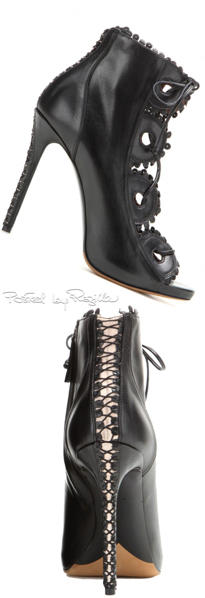 Tabitha Simmons Fall Black Leather Lace Up Open Toe