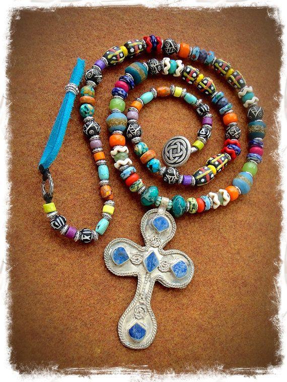 For JASMINE only. Boho CROSS Necklace Large Silver Cross por GPyoga