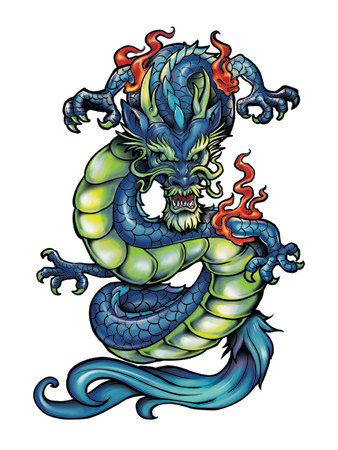 Chinese Dragon Temporary Tattoo  Model # 5013 by ZoogSay on Etsy