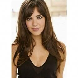 #WigsBuy Long Wavy Human Hair With Bangs Lace Front Women Wig 24 Inches