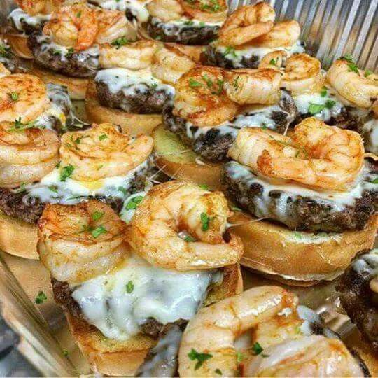 Mini shrimp cheeseburgers.