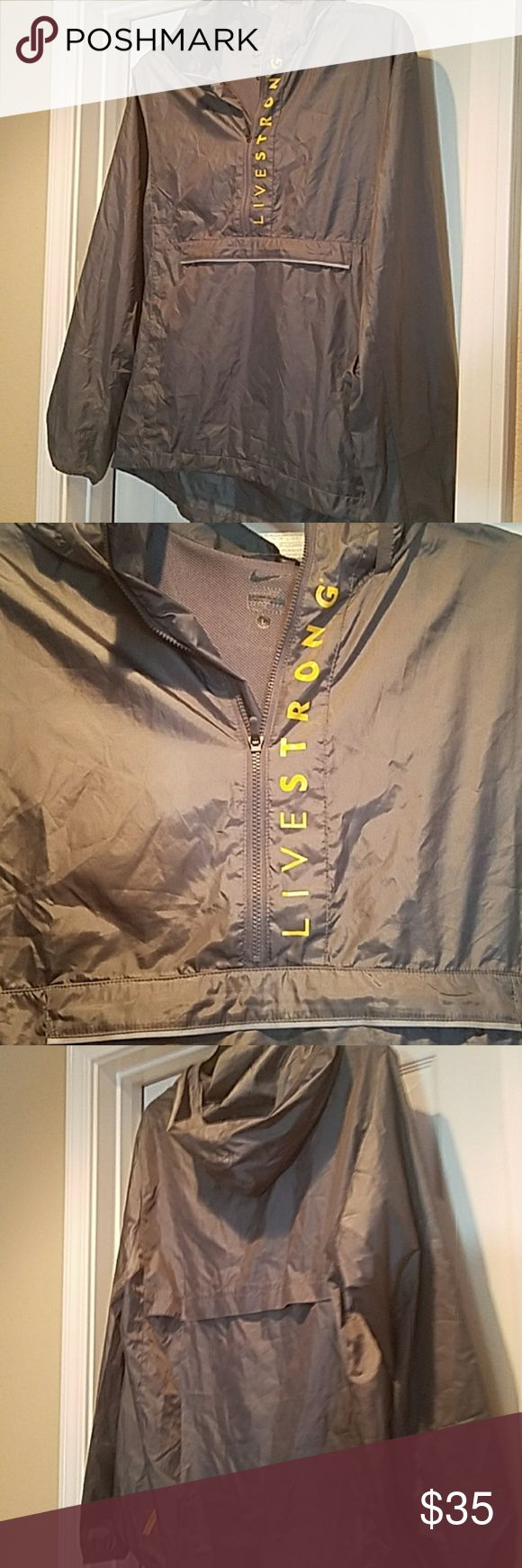 Nike Livestrong Windbreaker Nike Livestrong Windbreaker   Size:  large Preowned worn twice, no stains, no holes, smoke free home Nike Jackets & Coats Windbreakers