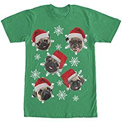 Lost Gods Ugly Christmas Sweater Pug Snowflakes Mens Graphic T Shirt