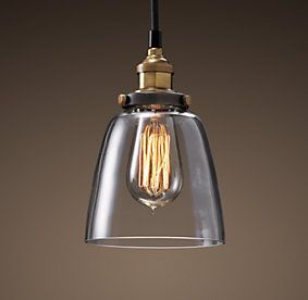 20Th C. Factory Filament Cloche | Restoration Hardware--above kitchen island--coordinates with West Elm pendant