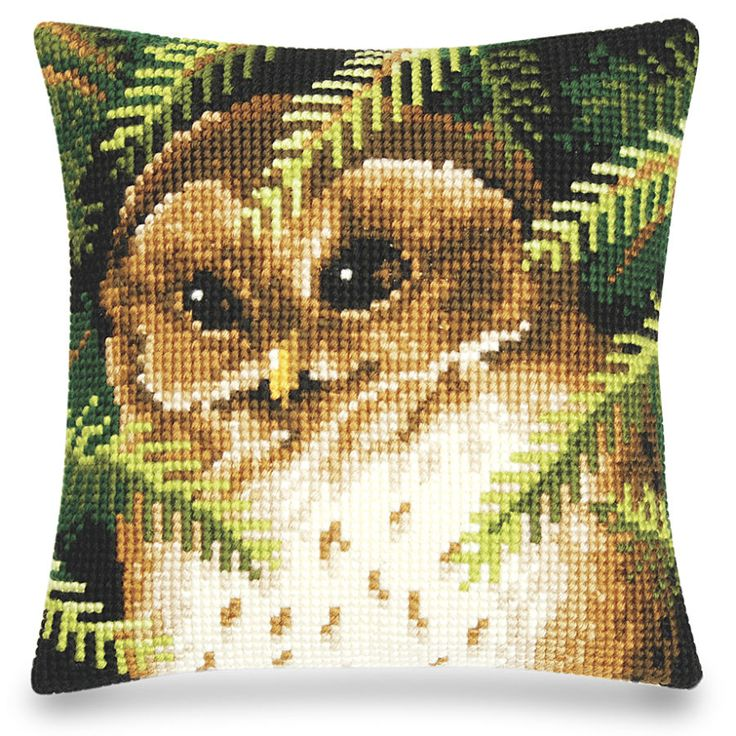 Owl in the Pines Pillow Top - Cross Stitch, Needlepoint, Stitchery, and Embroidery Kits, Projects, and Needlecraft Tools | Stitchery