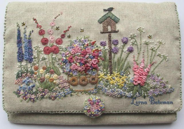 """""""In an English Country Garden"""" needle case. Hand Embroidered - beautiful!"""