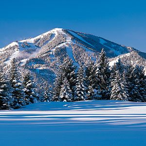 The amazing world famous Bald Mountain in Sun Valley (central). This view looks like the photo was taken from the Sun Valley Golf Course. It is really this breathtaking - don't need trick photography here.