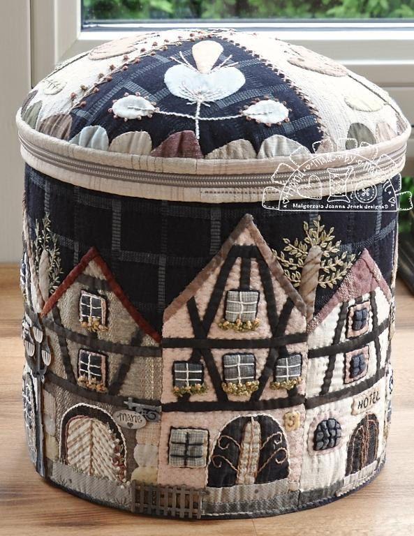 Townhouses in Alsace-XLround box MJJenek, quilt pattern, hand appliqué, pdf pattern, box von MJJenekdesigns auf Etsy