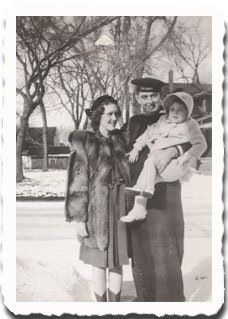 """The actress Marcia Wallace (voice of Miss Crabapple on the Simpsons, and Carol on The Bob Newhart Show) with her parents near their home in Creston, Iowa. Marcia's father Arthur """"Poke"""" Wallace owned Wallace's Sundries in Creston. Marcia attended Parsons College in Fairfield."""