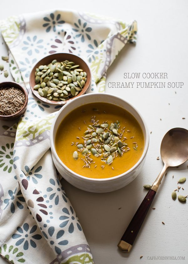 Slow Cooker Creamy Pumpkin Soup. Made with coconut milk and maple syrup, it's just the right balance of savory and sweet. Perfect comfort recipe for the fall.