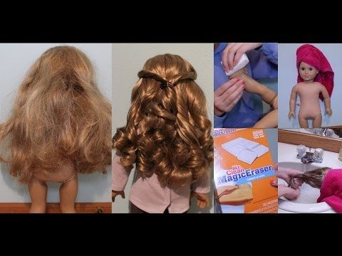 Fix American Girl Doll hair--shampoo, conditioner, water, pin curls