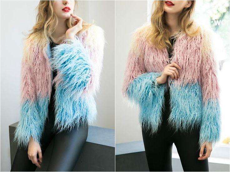 Elegant 2 color shag coat