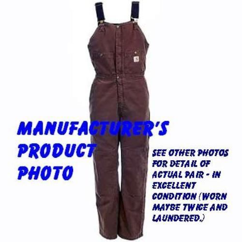 Carhartt Insulated Bib Overalls for Women - Size 6 - long - in chocolate brown. Someone's gonna steal these at this auction price on eBay. Bidding ends mid-morning on Saturday, February 1st. Crazy low price for nearly new WINTER insulated Carhartt bibs.
