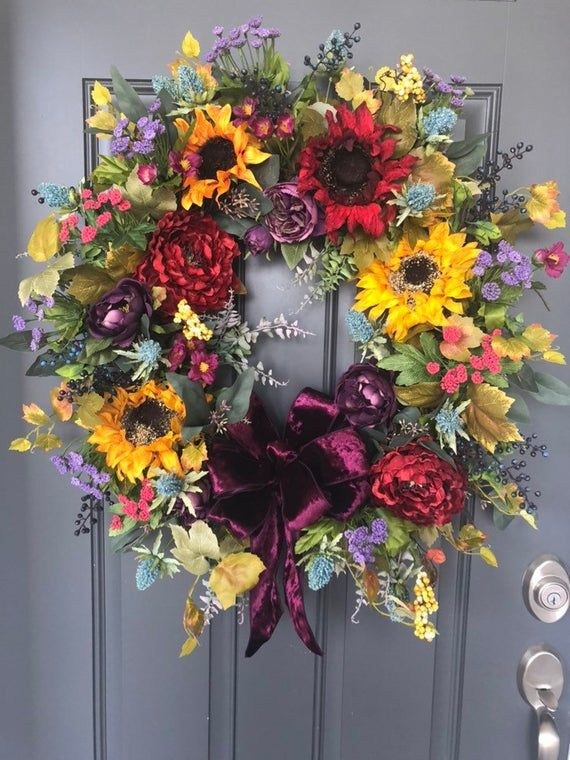 Fall Sunflowers And Multi Color Wreath Autumn Grapevine Etsy Fall Door Decorations Diy Fall Wreath Fall Wreaths