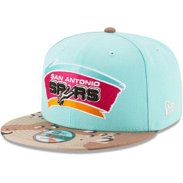 San Antonio Spurs New Era Trick Snapback 9FIFTY Adjustable Hat - Mint/Camo
