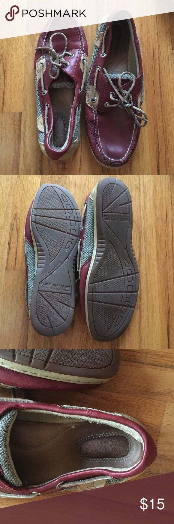 Sperry boat shoes Used boat shoes.  Worn indoors primarily. Strings are a bit of a mess. Price reflects. Also firm on price Sperry Top-Sider Shoes