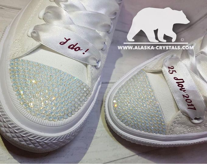 Wedding converse, Custom converse, All white chuck II converse, Personalized Converse, Matching converse, Converse With Swarovski, Bridal