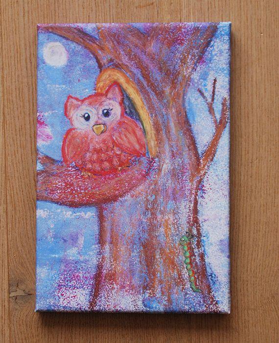 Leinwanddruck: Eule auf Baum von LittleWalkingWolf auf Etsy // Canvas print: owl on a tree