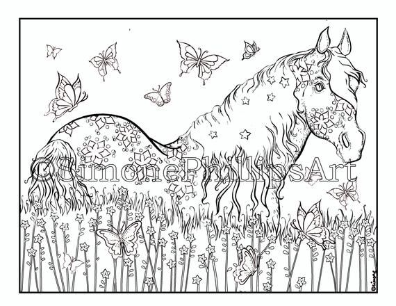 Horse Digital Stamp Coloring Page Horse In A Summer Field With Butterflies I Value Your Custom You Will R Horse Coloring Pages Horse Coloring Unicorn Drawing
