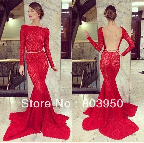 Sexy Vestido De Novia Red Scoop Neck Long Sleeve With Lace Open Back Prom Dress Mermaid Lace Long Luxury Evening Dress $160.00