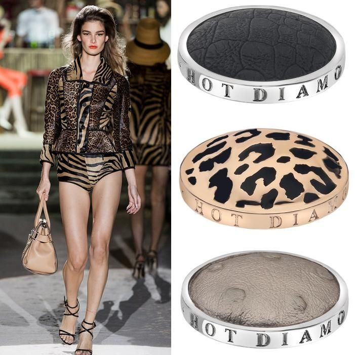 Animal print is back with a roar! Dsquared2 showcased their love for felines by combining tiger and leopard prints on the catwalk. From tigers to snakes to crocodiles, Emozioni can provide you with all your animal print needs. All the skin coins are Faux leather so no animals were harmed in the making of these coins. (Runway photography by www.catwalking.com) #hotdiamonds #emozioni