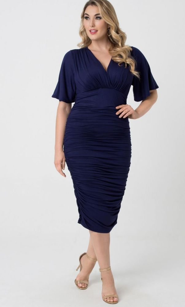 This Plus Size Navy Blue Bodycon 128064 Dress Is Power Packed For Work For A Night Out 128064 Powerdre Navy Plus Size Dresses Plus Size Fashion Fashion