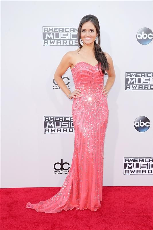 Danica McKellar must have thought she was going to prom and not the 2015 American Music Awards. At least we thought so based on her sweetheart hot pink gown with sparkling embellishments and that ringlet side ponytail.