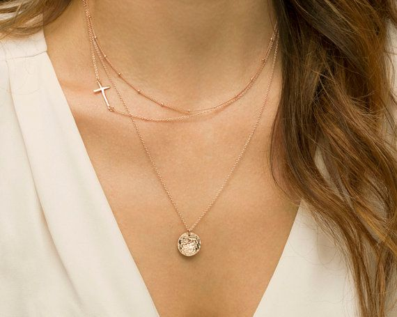Layered Necklaces with Side Cross / Personalized Delicate Rose