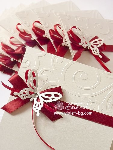 #wedding, #invitation, #butterfly, satin ribbon, embossed cardstock, red wedding…