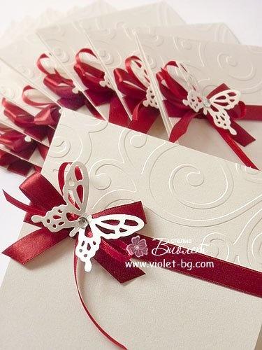 #wedding, #invitation, #butterfly, satin ribbon, embossed cardstock, red wedding…
