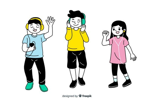 Download Flat Design Korean Drawing Style Young Characters Listening To Music For Free Fashion Drawing Free Cartoons Listening To Music