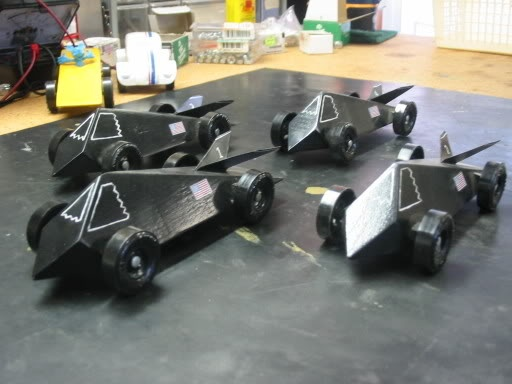Stealth pinewood derby cars