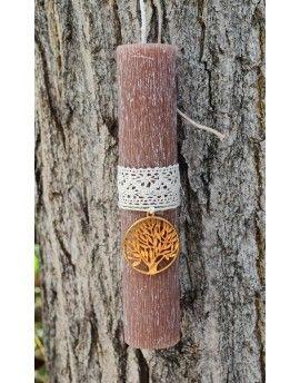 Λαμπάδα με δέντρο ζωής / καφέ