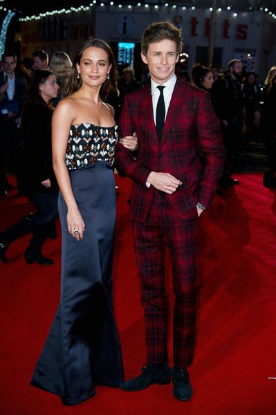 "Alicia Vikander and Eddie Redmayne attend the UK Film Premiere of ""The Danish Girl"" on December 8, 2015 in London, United Kingdom."