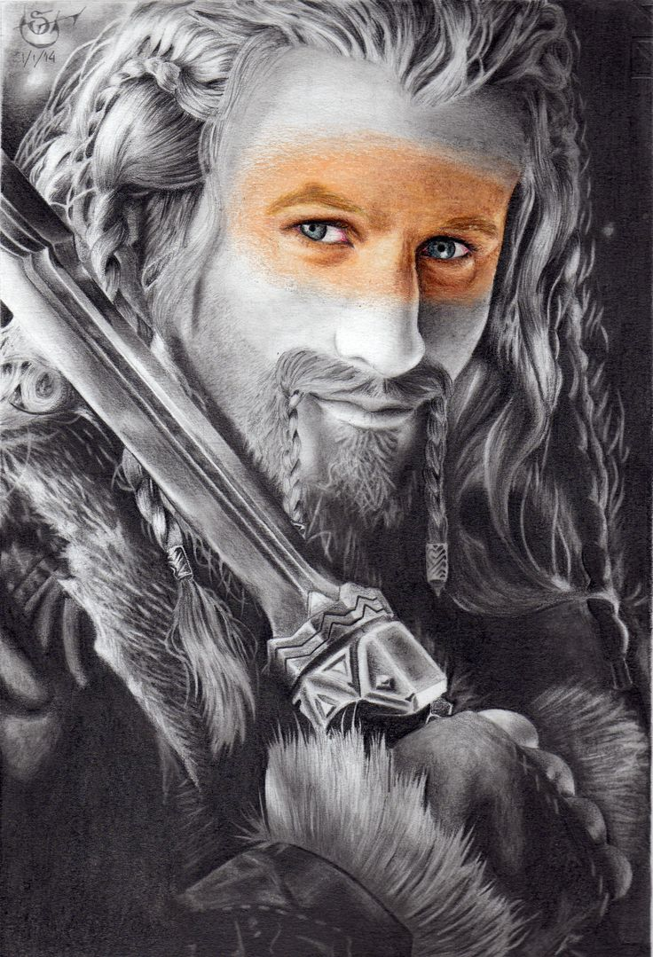 Drawing in graphite and color of Fili, The Hobbit's character