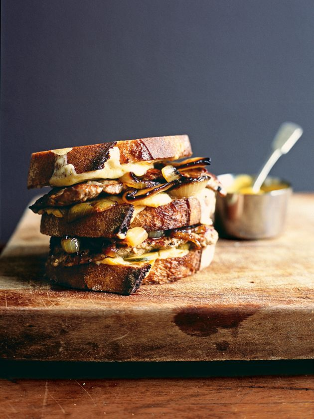 New York style veal, mustard and pickle toasties...another for hubby. Donna Hay