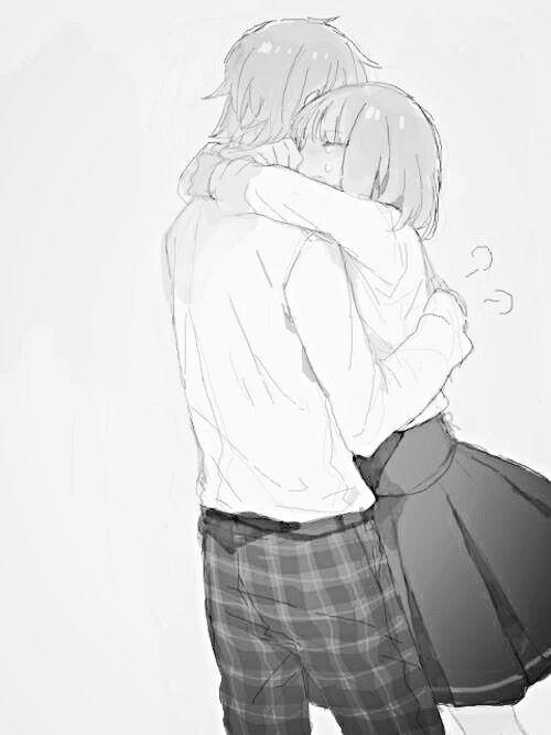 Abrazo anime couple b w hug manga couple manga girl - Anime boy hugging girl ...